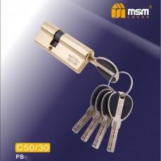Цил. Мех. MSM Перфо. Ключ-Ключ C50/30 Цвет: PB - Золото