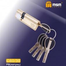 Цил. Мех. MSM Перфо. Ключ-Ключ C60/30 Цвет: PB - Золото