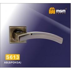 Ручка на квадратной накладке MSM S613 Цвет: AB - Бронза
