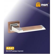 Ручка на квадратной накладке MSM A647 Цвет: AC/CP - Медь/Хром
