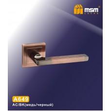 Ручка на квадратной накладке MSM A649 Цвет: AC/BK - Медь/Чёрный