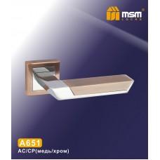Ручка на квадратной накладке MSM A651 Цвет: AC/CP - Медь/Хром