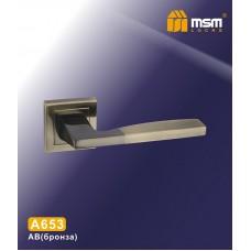Ручка на квадратной накладке MSM A653 Цвет: AB - Бронза