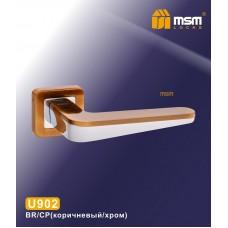 Ручка на квадратной накладке MSM U902 Цвет: BR/CP - Коричневый/Хром