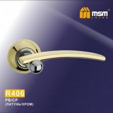 Ручка на круглой накладке R406 Цвет: PB/CP - Золото/Хром