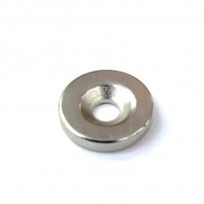 Магнит круглый с отв. Неодим 15*3мм. Цвет: SN - Матовый никель